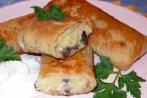 Блинчики с грибами и сыром рецепт