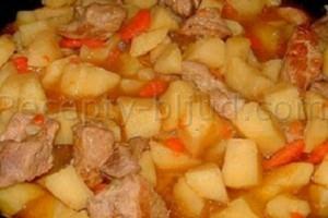 Тушеная картошка с курицей в микроволновке рецепт