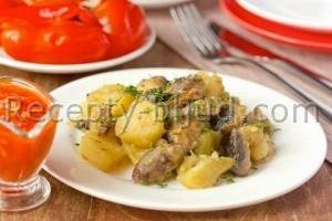 Тушеный картофель с грибами в микроволновке рецепт