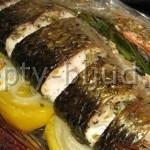 Рыба запеченная в рукаве с овощами