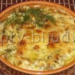 Картошка с курицей и грибами в сливочном соусе