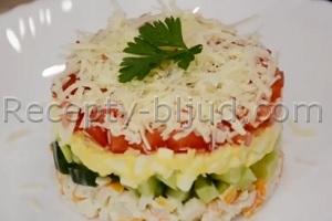 рецепты салатов с крабовыми палочками с помидорами и